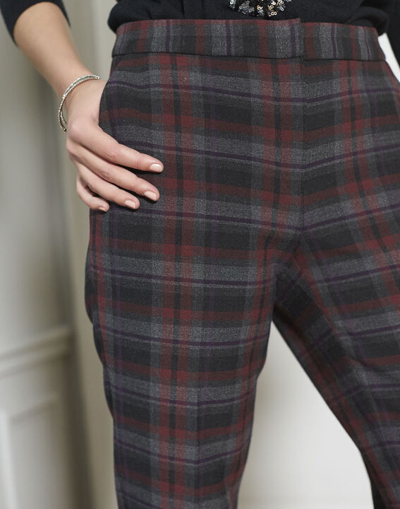 Suzanne Red-Checked Cigarette pants (3) - 1-2-3
