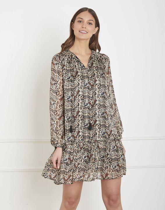 Ongekend Zwarte jurk met etnische print Lizie - Maison Cent Vingt-Trois MV-51