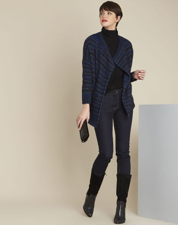 Back blue striped cardigan (2) - 1-2-3