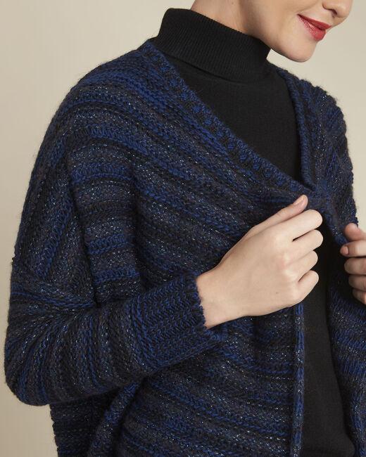 Gilet bleu rayé laine mélangée Back (2) - 1-2-3