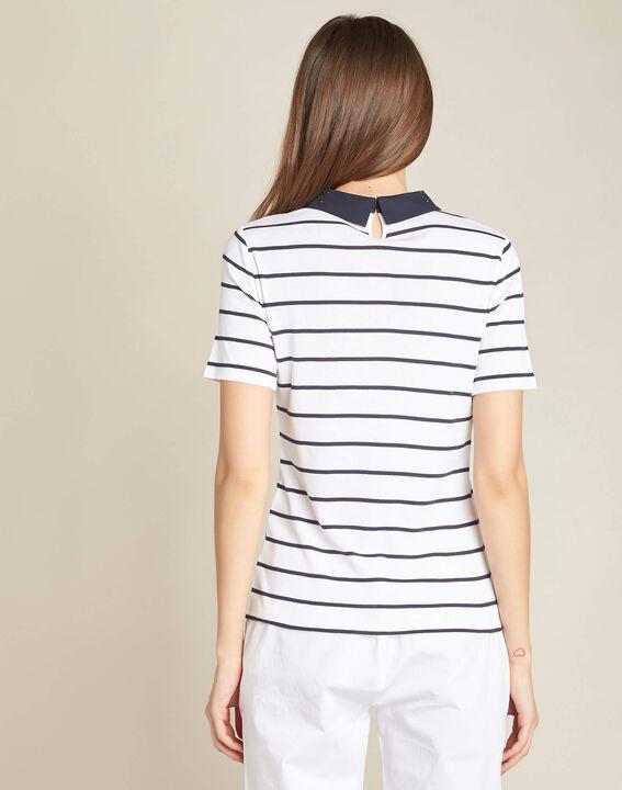 Marineblauw gestreept T-shirt met claudinekraag Egantine (4) - 37653