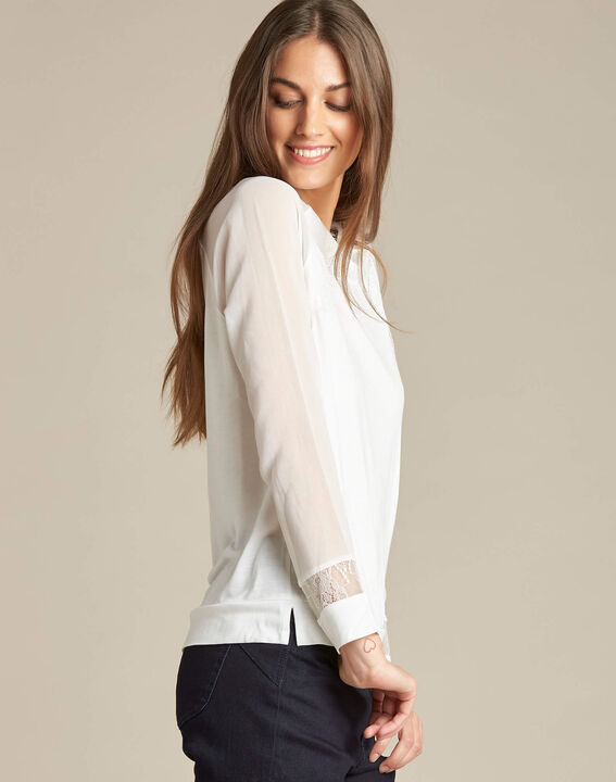 Ecaille fine white sweater in a dual fabric with lace (3) - 1-2-3