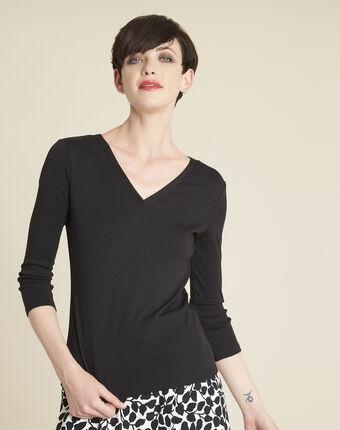 Zwart t-shirt met glanzende halsopening galvani noir.