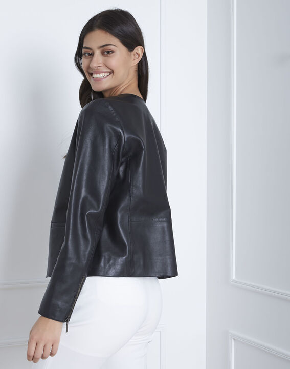Thea short black lambskin jacket (4) - 1-2-3