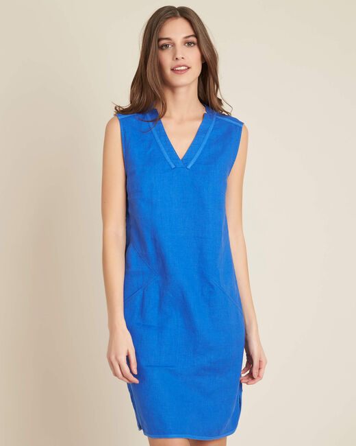 Pim light blue straight-cut linen dress (2) - 1-2-3