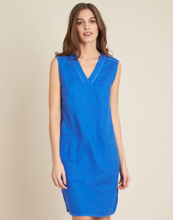 Pim light blue straight-cut linen dress (3) - 1-2-3