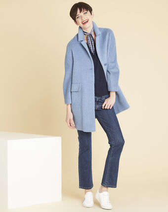 Edith 3/4-length wool blend coat in azure blue sky blue.