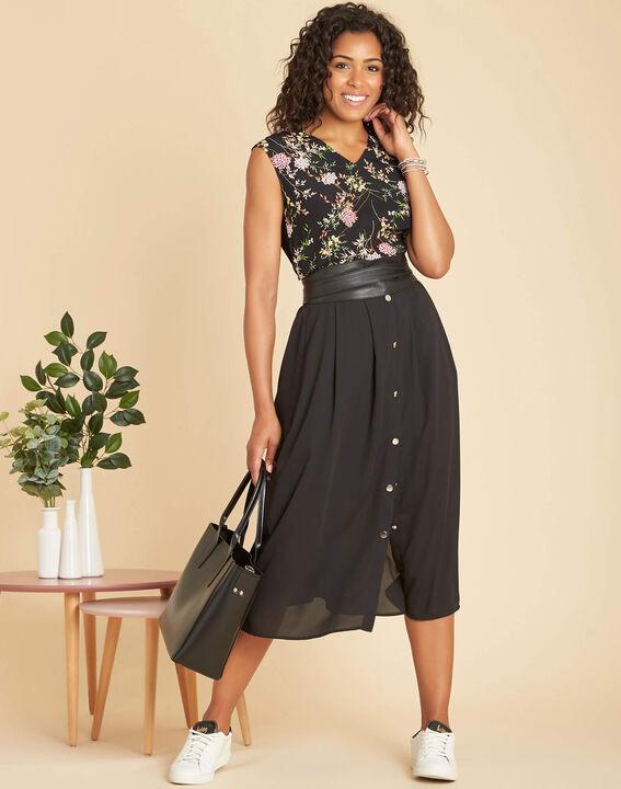 Geptune black print dual-fabric blouse (2) - 1-2-3
