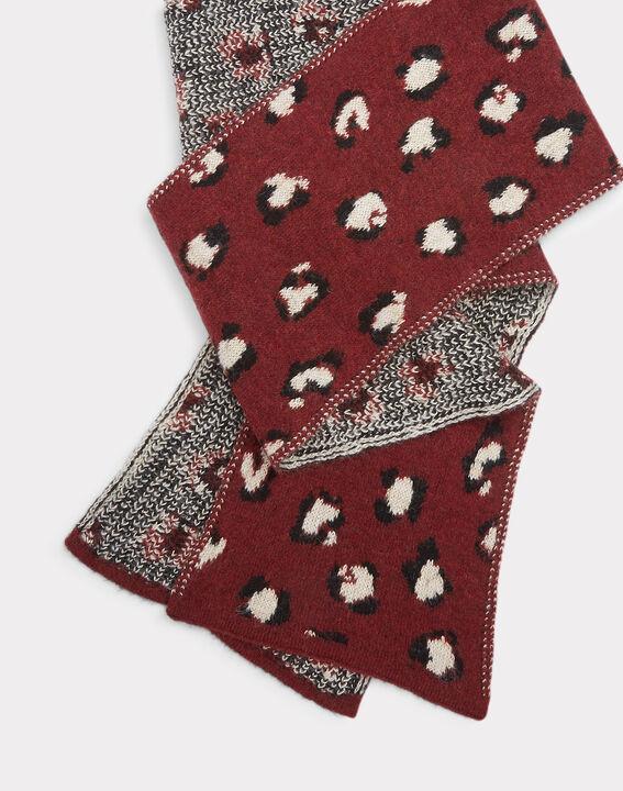 Echarpe bordeaux fantaisie en laine mélangée Tigre (2) - 1-2-3