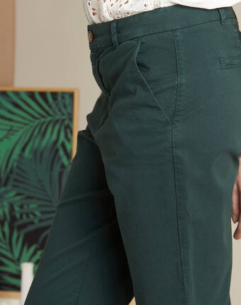 Victoria dark green chinos with turn-ups forest green.
