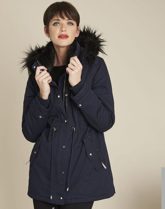Pikou navy hooded faux fur parka navy.