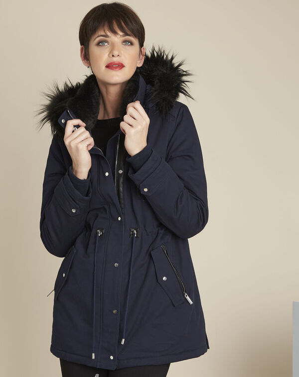 Pikou navy hooded faux fur parka (1) - 1-2-3