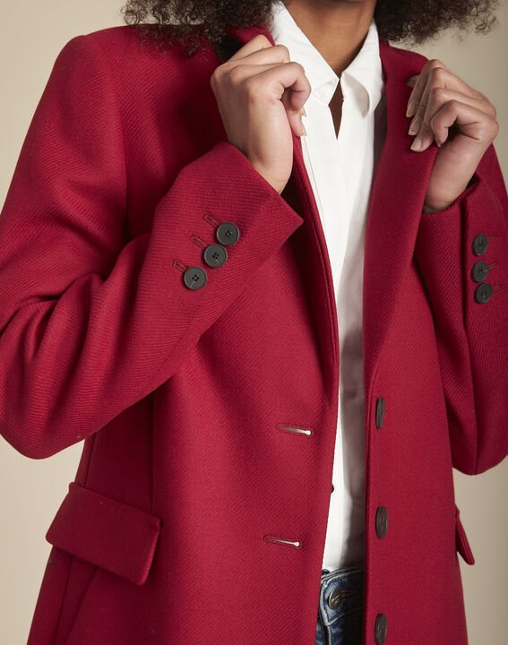 Manteau rouge en laine mélangée Plume (3) - 1-2-3