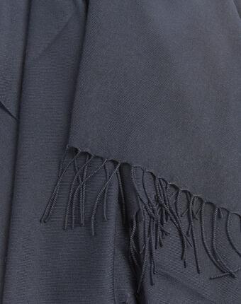 Fossette fringed navy blue scarf navy.