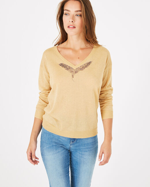 Phoenix shiny golden sweater with open back (1) - 1-2-3