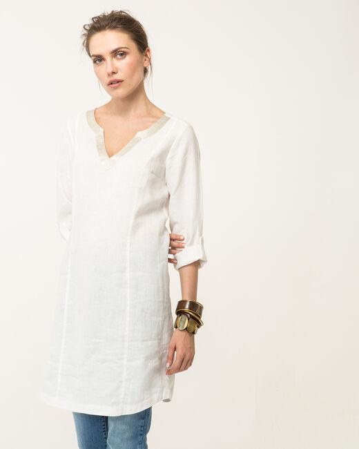 Robe écrue en lin Blanche (2) - 1-2-3