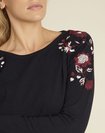 Broderie navy blue sweater with floral embroidery on the shoulders navy.