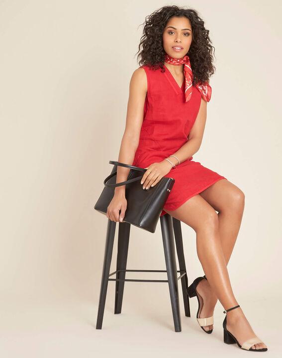 Pim red linen dress (2) - 1-2-3