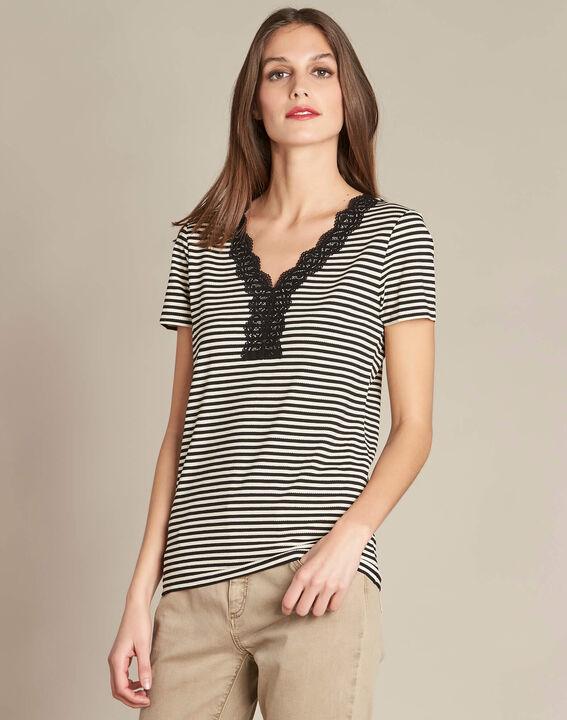 Emoi striped ecru T-shirt with lace neckline (3) - 1-2-3