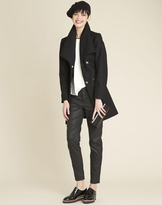 Joss black belted coat with cowl neckline (2) - 1-2-3