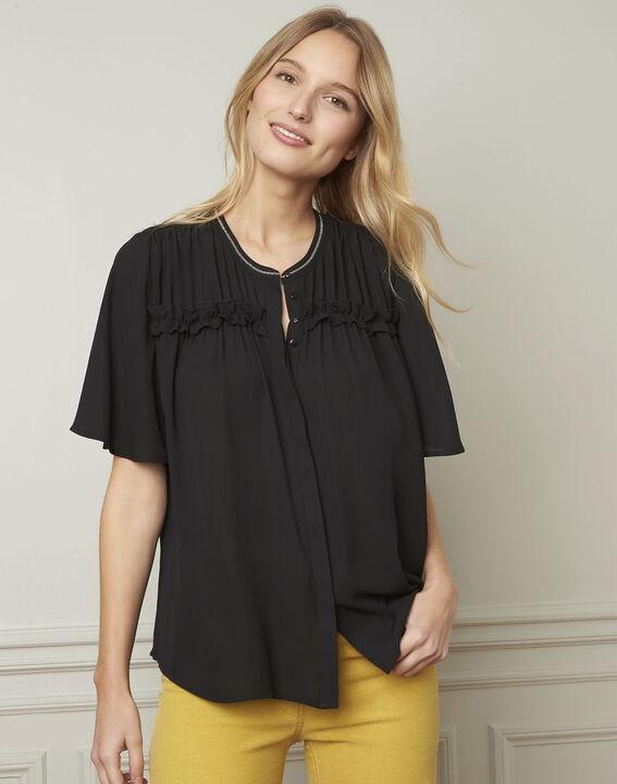 Zwarte blouse met fantasiedetails Vitali (1) - Maison 123