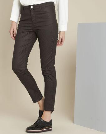 Pantalon marron imprimé léopard slim vendome dark brown.