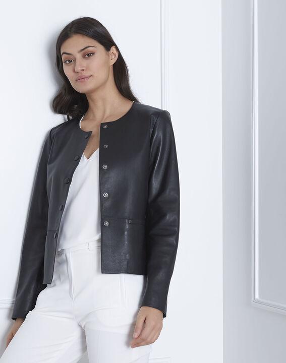 Kurze schwarze Jacke aus Lammleder Thea (2) - 1-2-3