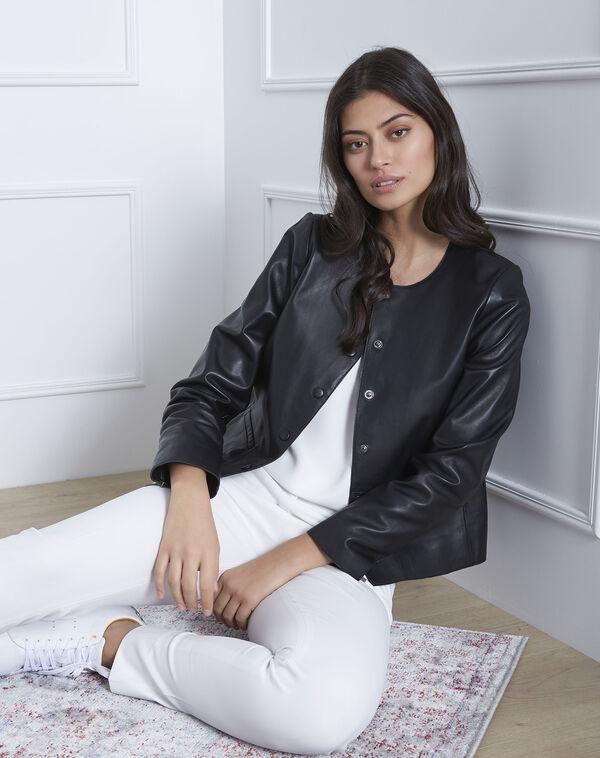Kurze schwarze Jacke aus Lammleder Thea (1) - 1-2-3