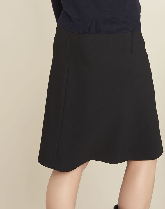 Agathe black skirt with knot and slit (4) - 1-2-3