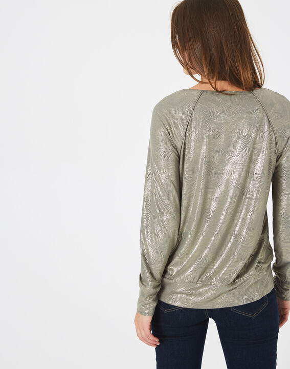 Sweat-shirt kaki imprimé brillant Brindille (4) - 1-2-3