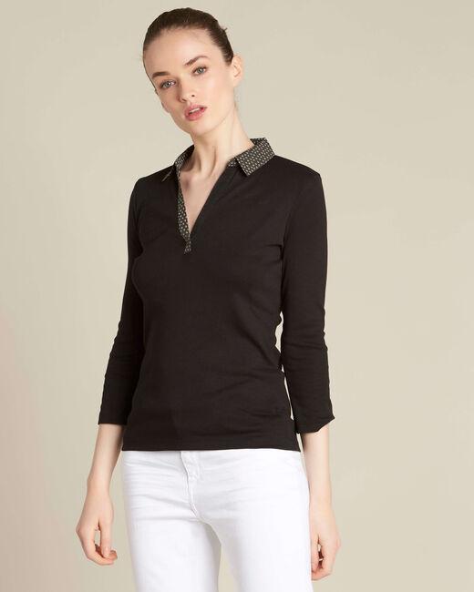 Schwarzes T-Shirt mit kontrastierendem Hemdkragen Bowling (2) - 1-2-3