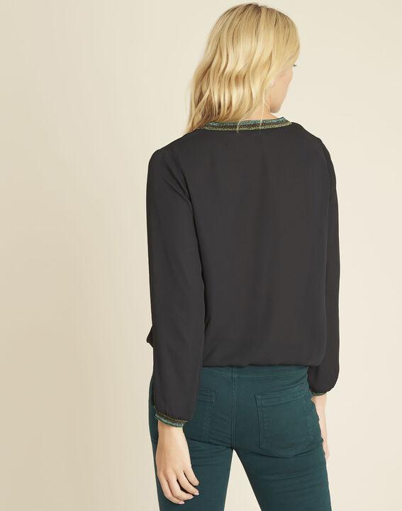Carla black blouse with decorative V-neckline (4) - 1-2-3