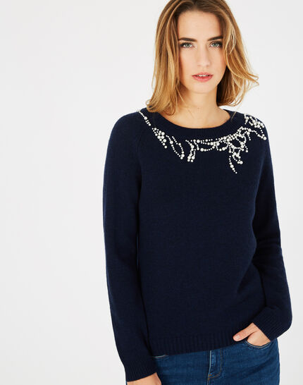 Perle navy blue sweater with beading in a wool blend (3) - 1-2-3