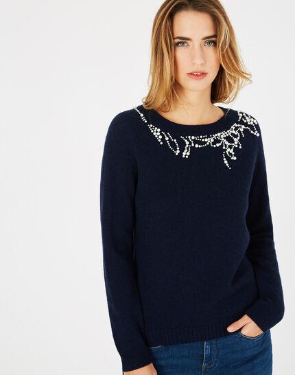 Marineblauer Pullover aus Woll-Mix mit Perlen Perle (3) - 1-2-3