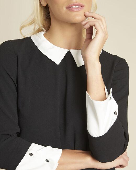 Schwarzes Kleid mit abnehmbaren Kragen Demoiselle (1) - 1-2-3