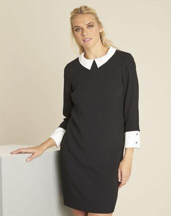 Demoiselle black dress with detachable collar black.