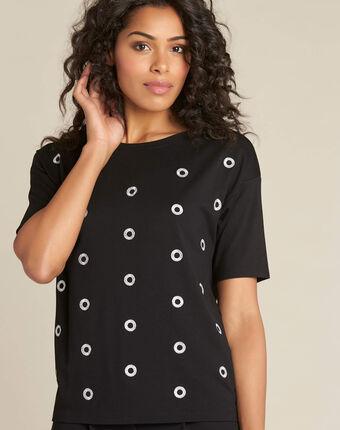 Tee-shirt noir à pois en lurex eclair noir.