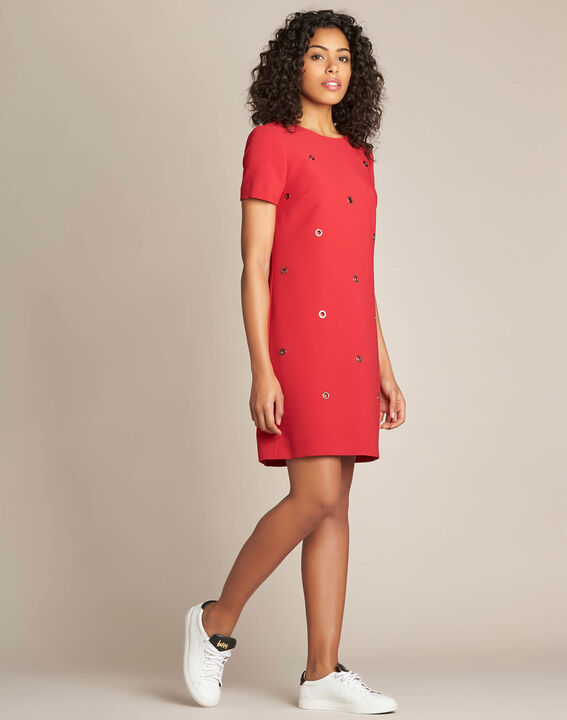 Adelie red straight-cut dress with eyelets (3) - 1-2-3