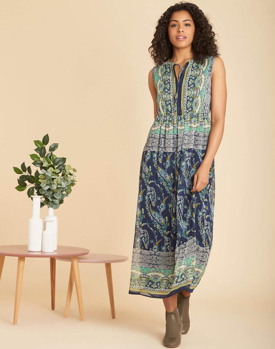 Paillette long blue printed dress (3) - 1-2-3