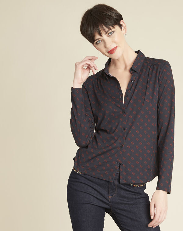Gaudi navy shirt with print (1) - 1-2-3