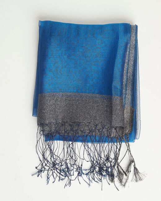 Annie shiny royal blue scarf in a silk mix (1) - 1-2-3
