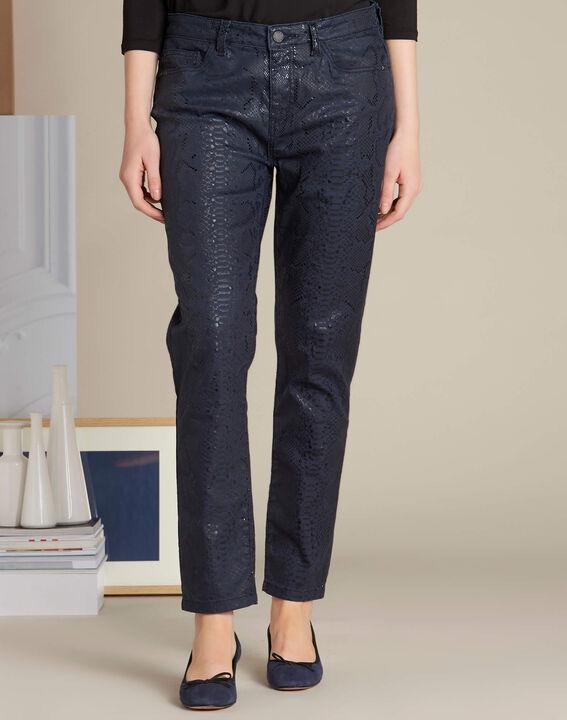 Marineblaue beschichtete Jeans mit Snake-Print Vendome (3) - 1-2-3