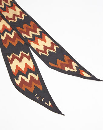 Fanette bohemian print silk tie belt coral.