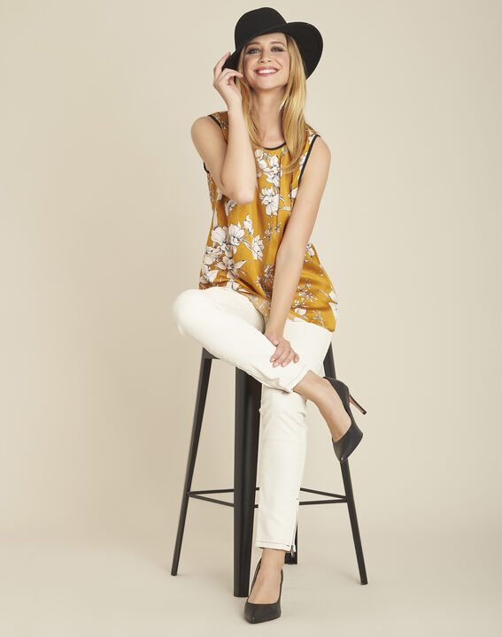 Gelbe Bluse mit Blumenprint und Schleife am Rücken Canette (2) - 1-2-3