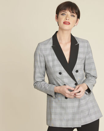 Siara grey prince of wales print jacket light chine.