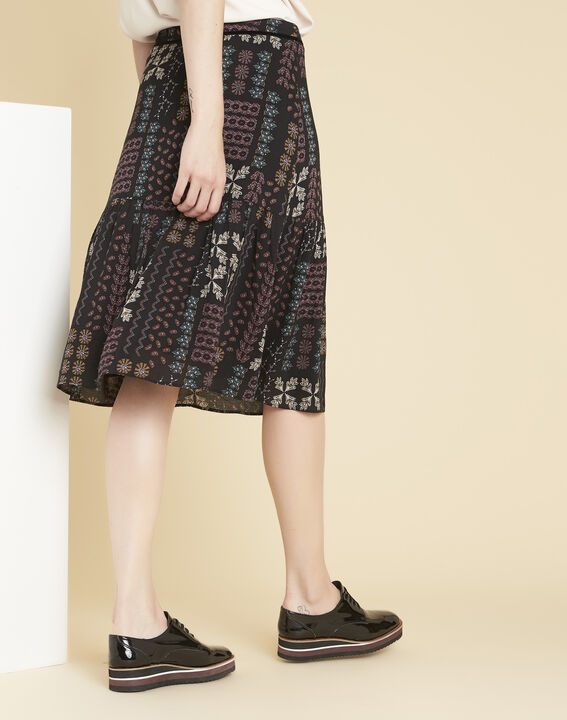 Annabelle black skirt with floral print (4) - 1-2-3