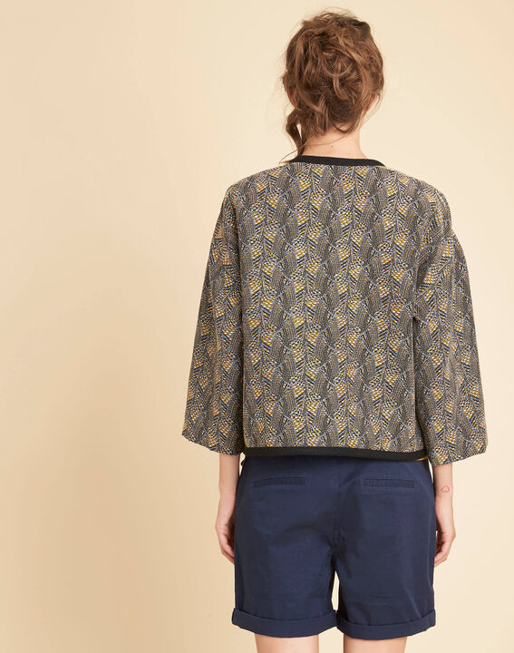 Cajin ethnic printed blouse in camel (4) - 1-2-3