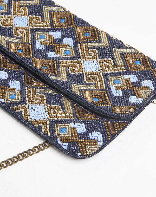 Pochette bleue avec broderies perlées dorées Irma (1) - 1-2-3