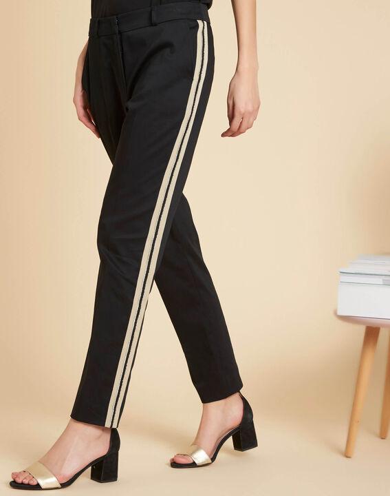 Pantalon slim noir à bandes coton 7/8 Francis (3) - 1-2-3