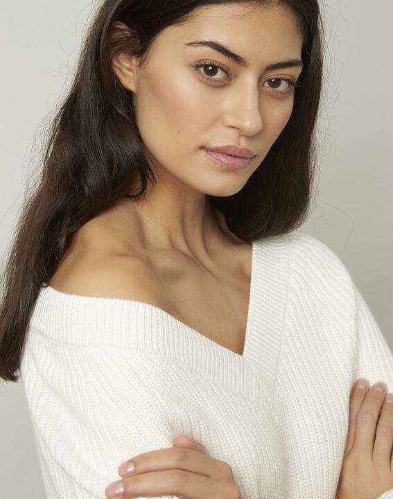 Ankara cream cotton and wool blend V-neck pullover (4) - 1-2-3